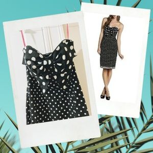 Betsey Johnson Retro Polka Dot Bow Strapless Dress